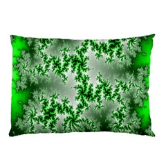 Green Fractal Background Pillow Case by Simbadda