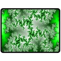 Green Fractal Background Fleece Blanket (large)  by Simbadda