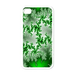 Green Fractal Background Apple Iphone 4 Case (white) by Simbadda