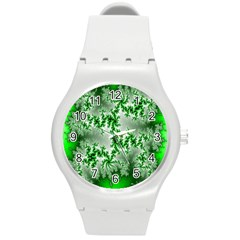 Green Fractal Background Round Plastic Sport Watch (m) by Simbadda