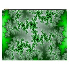 Green Fractal Background Cosmetic Bag (xxxl)  by Simbadda