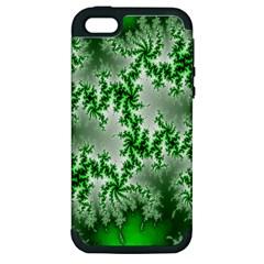 Green Fractal Background Apple Iphone 5 Hardshell Case (pc+silicone) by Simbadda