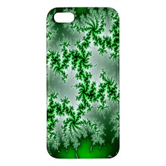Green Fractal Background Apple Iphone 5 Premium Hardshell Case by Simbadda
