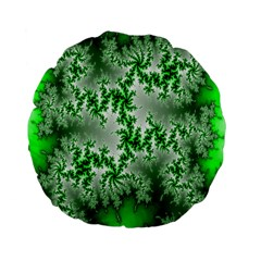 Green Fractal Background Standard 15  Premium Flano Round Cushions by Simbadda