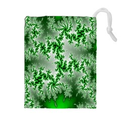 Green Fractal Background Drawstring Pouches (extra Large)
