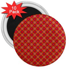 Abstract Seamless Floral Pattern 3  Magnets (10 Pack)  by Simbadda
