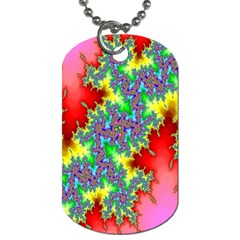 Colored Fractal Background Dog Tag (two Sides) by Simbadda