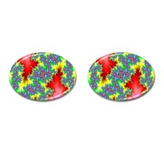 Colored Fractal Background Cufflinks (oval) by Simbadda