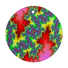 Colored Fractal Background Round Ornament (two Sides) by Simbadda