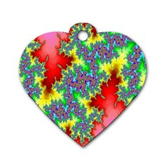 Colored Fractal Background Dog Tag Heart (one Side) by Simbadda