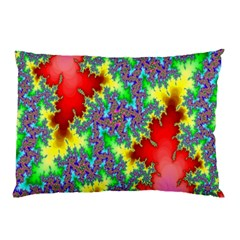 Colored Fractal Background Pillow Case by Simbadda