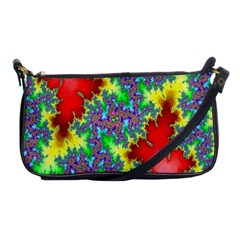 Colored Fractal Background Shoulder Clutch Bags by Simbadda