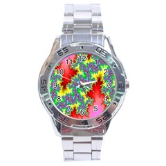 Colored Fractal Background Stainless Steel Analogue Watch by Simbadda