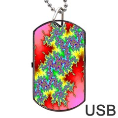 Colored Fractal Background Dog Tag Usb Flash (two Sides) by Simbadda