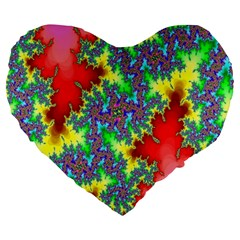 Colored Fractal Background Large 19  Premium Heart Shape Cushions by Simbadda
