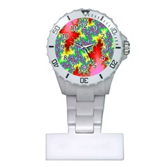 Colored Fractal Background Plastic Nurses Watch by Simbadda
