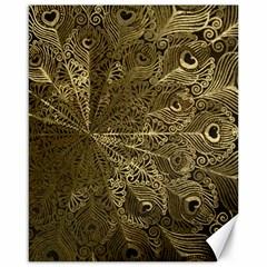 Peacock Metal Tray Canvas 16  X 20   by Simbadda