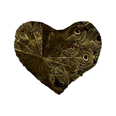 Peacock Metal Tray Standard 16  Premium Heart Shape Cushions by Simbadda