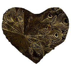 Peacock Metal Tray Large 19  Premium Heart Shape Cushions by Simbadda
