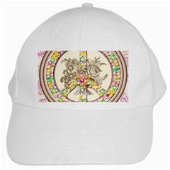 Peace Logo Floral Pattern White Cap by Simbadda