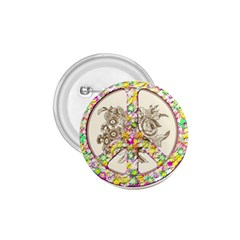Peace Logo Floral Pattern 1 75  Buttons by Simbadda