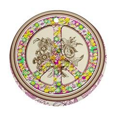 Peace Logo Floral Pattern Ornament (round) by Simbadda