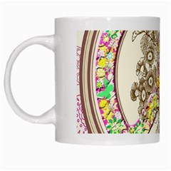 Peace Logo Floral Pattern White Mugs by Simbadda