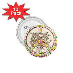Peace Logo Floral Pattern 1 75  Buttons (10 Pack) by Simbadda