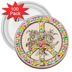 Peace Logo Floral Pattern 3  Buttons (100 Pack)  by Simbadda