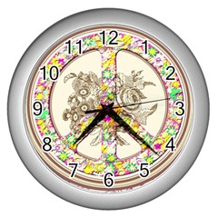 Peace Logo Floral Pattern Wall Clocks (silver)  by Simbadda