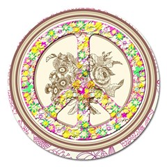 Peace Logo Floral Pattern Magnet 5  (round) by Simbadda