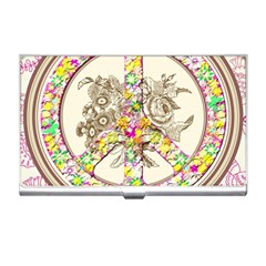 Peace Logo Floral Pattern Business Card Holders by Simbadda