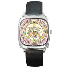 Peace Logo Floral Pattern Square Metal Watch by Simbadda