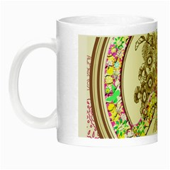 Peace Logo Floral Pattern Night Luminous Mugs by Simbadda