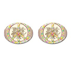 Peace Logo Floral Pattern Cufflinks (oval)
