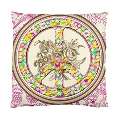 Peace Logo Floral Pattern Standard Cushion Case (two Sides) by Simbadda