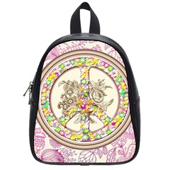 Peace Logo Floral Pattern School Bags (small)  by Simbadda