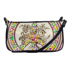 Peace Logo Floral Pattern Shoulder Clutch Bags by Simbadda
