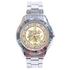 Peace Logo Floral Pattern Stainless Steel Analogue Watch by Simbadda