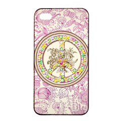 Peace Logo Floral Pattern Apple Iphone 4/4s Seamless Case (black) by Simbadda