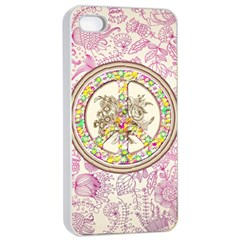 Peace Logo Floral Pattern Apple Iphone 4/4s Seamless Case (white) by Simbadda