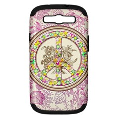 Peace Logo Floral Pattern Samsung Galaxy S Iii Hardshell Case (pc+silicone) by Simbadda