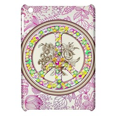 Peace Logo Floral Pattern Apple Ipad Mini Hardshell Case by Simbadda