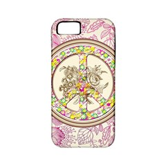 Peace Logo Floral Pattern Apple Iphone 5 Classic Hardshell Case (pc+silicone) by Simbadda