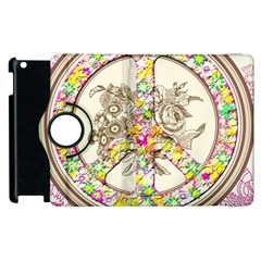 Peace Logo Floral Pattern Apple Ipad 2 Flip 360 Case by Simbadda
