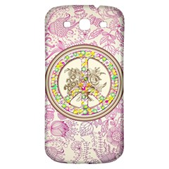 Peace Logo Floral Pattern Samsung Galaxy S3 S Iii Classic Hardshell Back Case by Simbadda