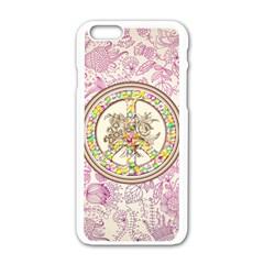 Peace Logo Floral Pattern Apple Iphone 6/6s White Enamel Case by Simbadda