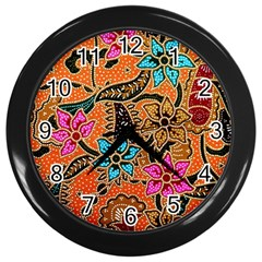 Colorful The Beautiful Of Art Indonesian Batik Pattern Wall Clocks (black) by Simbadda