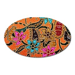Colorful The Beautiful Of Art Indonesian Batik Pattern Oval Magnet by Simbadda