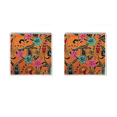 Colorful The Beautiful Of Art Indonesian Batik Pattern Cufflinks (square) by Simbadda